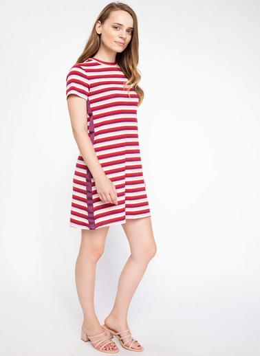 DeFacto Yanı Şerit Detaylı Çizgili Elbise Kırmızı